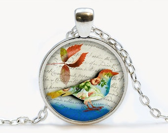 Vintage Floral Bird with Leaf Glass pendant. Bird Necklace,  Bird jewelry, birthday gift