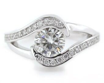 Bypass Moissanite Engagement Ring Diamond Setting