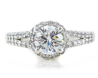 Split Shank Moissanite Engagement Ring Diamond Halo - Sara