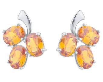 9 Ct Orange Citrine Oval Shape Design Stud Earrings