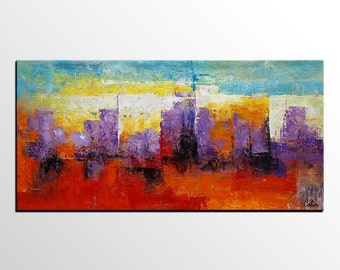 Large Art, Oil Painting, Cityscape Painting, Canvas Art, Framed Art, Abstract Art, Abstract Painting, Abstract Wall Art, Abstract Landscape