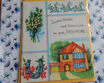 Vintage Unused 1950s or 1960s Sincere Wishes And Good Luck In Your New Home Card