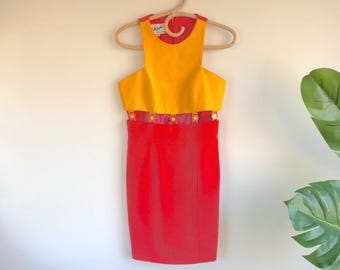 Vintage 90's Midriff Dress Orange And Peach Linda Segal Size 4