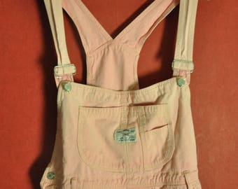Vintage 80s90s Romper Pastel Overall Workers Pink Size L