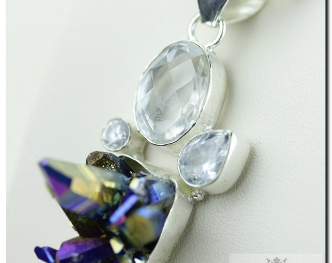 Italian Made Titanium Drusy Druzy Topaz 925 SOLID Sterling Silver Pendant & 4mm Snake Chain + FREE Worldwide Shipping