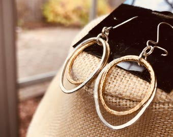 Sterling Silver and Vermeil Earrings Silver Circle Earrings 2 Circle Earrings Modern Everyday Silver Earrings Hammered Circle Earrings
