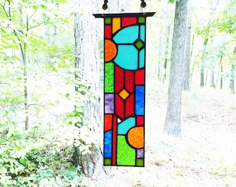 Elegant stained glass panel Glass Art abstract stained glass suncatcher art glass gift stained glass window