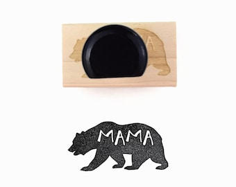 Rubber Stamp Mama Bear   Bear for Mom, Note from Momma, Mother's Day, Lunch Note Stamp