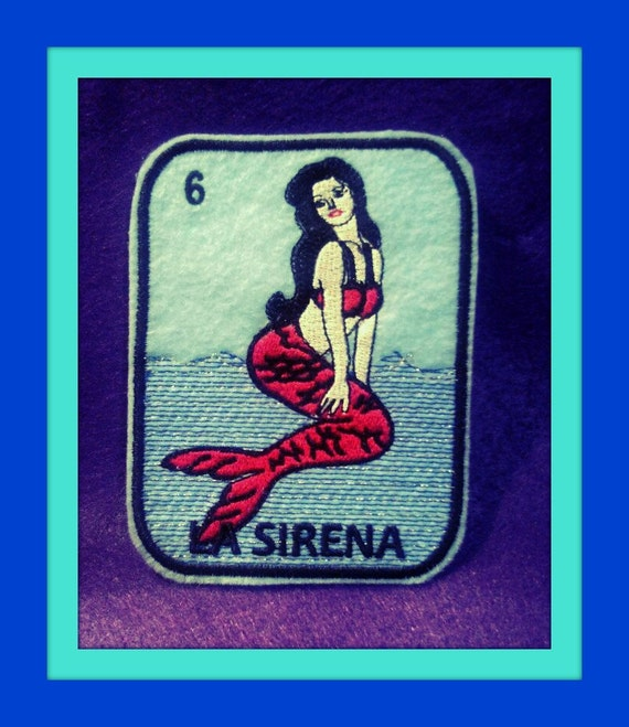 Mexican Day of the Dead Sugar Skull Patch Embroidery black and limeLa Sirena Loteria Iron on Patch mermaid