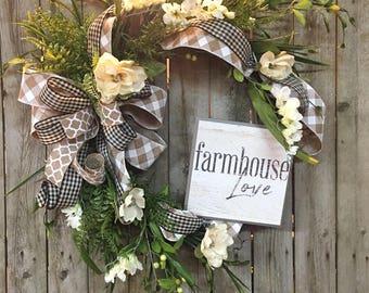 Genial Spring Wreaths For Front Door, Spring Magnolia Wreath, Farmhouse Wreath,  Double Door Wreath, Country Wreaths, Summer Wreaths