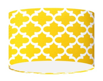 Yellow lampshade etsy yellow table floor ceiling lampshade premier prints moroccan quatrefoil fabric handmade drum shade bright 20 30 aloadofball Image collections