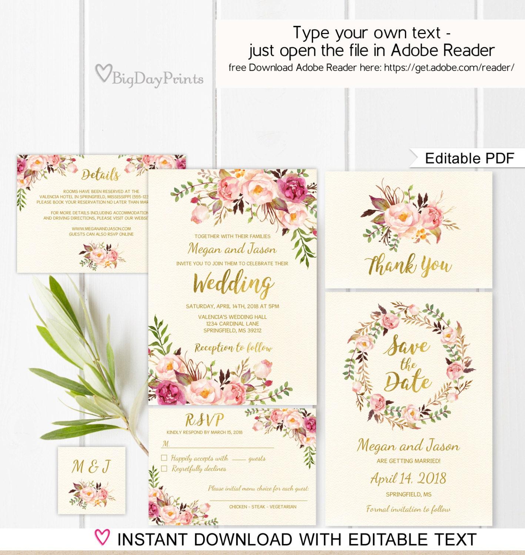 Floral Wedding Invitation Template Ivory Boho Chic Wedding