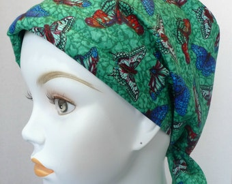 Beautiful Butterfly Cancer Chemo Hair Scarf Turban Hat Cotton Elastic Padded 100% Cotton