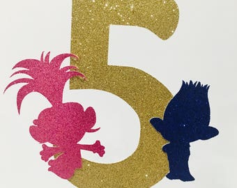 Trolls Personalize age number Glitter cake topper, Trolls happy birthday number topper, Trolls cake party topper, trolls name cake topper.