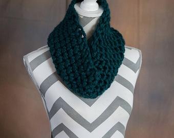 Dark Teal Super Chunky Crochet Cowl