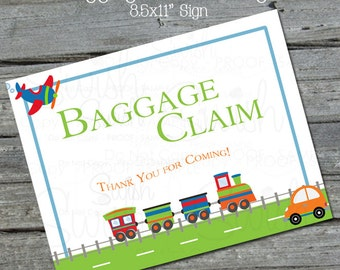 Digital Baggage Claim sign | Planes, Trains Automobiles Party Decor | Printable Birthday Sign | Instant Download | digital download |