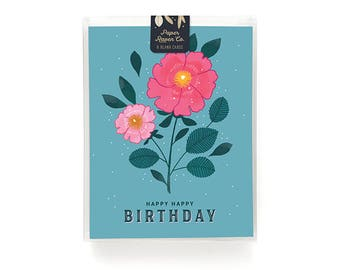 Floral Birthday Card Box Set of 8 - Birthday Card - Happy Birthday Card Blank Inside