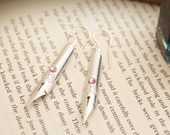 Repurposed Dip pen Earrings Silver Pink Ink Pen tip Authentic Gift for Writer or Teacher Long Dangle Pink Crystal Earrings