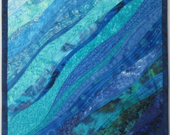 Art Quilt Ocean Serenity, Wall Quilt, Wall Hanging, Abstract quilt