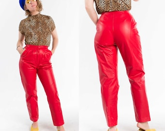 Red Leather Pants / High Waist / 1980s / Size S-M