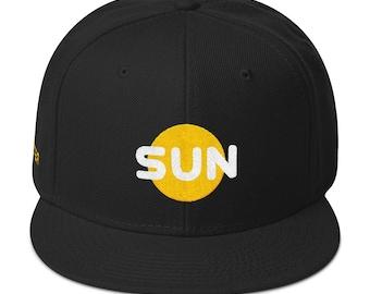 Sun Snapback Hat - Acrylic/Wool Flat Bill Snapback Hat