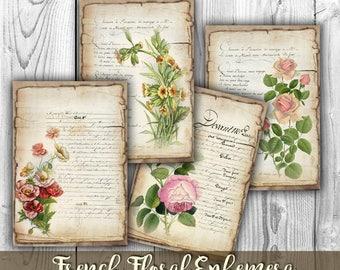 French Floral Ephemera Digital Collage Sheet - Digital Paper Printables