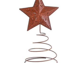 Rustic 3-D Star Christmas Tree Topper Decoration Holiday Winter