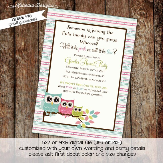 owl baby shower invitation surprise gender reveal diaper wipe brunch co-ed two moms baby shower pink or blue reveal 1427 Katiedid Designs