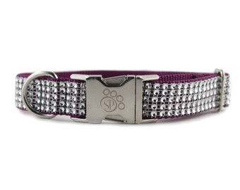 Purple Bling Dog Collar - Adjustable dog collar -fancy dog collar - sparkly dog collar - Purple dog collar - girl dog collar