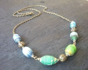 brazen Necklace with paper beads
