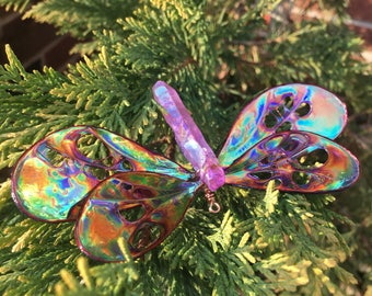 Made to Order, Crystal Dragonfly, Shimmery Wings, Butterfly, Dragonfly Ornament, Sun Catcher, Crystals, Quartz Point