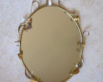 Art Deco mirror. Art Nouveau. Jolly Lampadari stile fiorentino. Florentine style. Specchio. Vintage. Brass. Antique brass.
