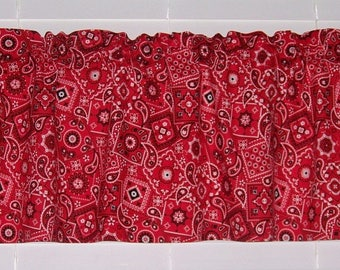 Red Bandana Handkerchief Paisley Rodeo Western Cowboy Valance Window Curtain