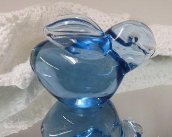Little Blue Glass Rabbit Bunny - Glass Paper Weight