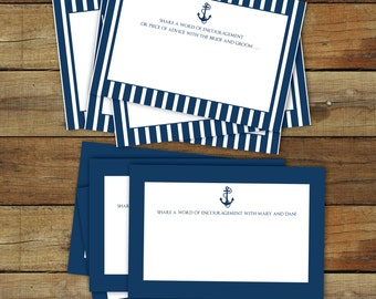 Nautical baby shower advice cards - printable anchor advice cards - editable pdf - instant download