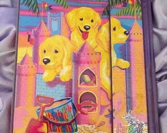 Vintage 90s Lisa Frank Sandcastle Puppies Design 1-inch 3-Ring Tri-fold Binder/Trapper Keeper