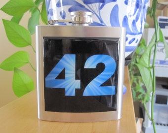 Hitchhikers Guide to the Galaxy inspired 42 Liquor Hip Flask