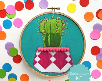 Pink Cactus Embroidery Kit
