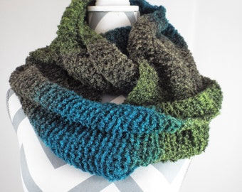 Knit Infinity Scarf  Hand Knit Scarf  Chunky Scarf  Chunky Infinity Cowl  Knitted Infinity Scarf  Warm Cozy Scarf  Fashion Scarf
