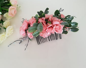 Hair comb,flowers hair comb,bridal hair comb,wedding hair comb,floral hair comb ,rose flower comb,Floral Accessories,Leaf Hair Comb
