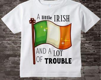 Kids St. Patrick's Day Shirt or Onesie Bodysuit | A Little Irish and a Lot of Trouble Shirt | Irish Flag Shirt | 02172017c