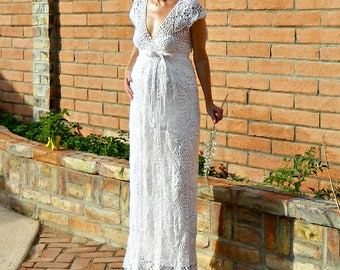 Maternity Couture Dress-Couture Wedding Dress-Couture Lace-Couture Gown-Crochet Lace-V Wrap Top & Skirt Pineapple Motif-Pregnant Bride