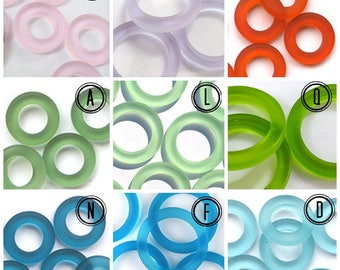 Recycled Glass Circle Ring - Sizes 27mm, 23mm, 16mm or 12mm - Eco Friendly - Recycled Sea Glass & Other Glass