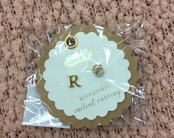 R Initial Earrings Reversible