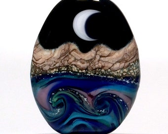 Dichroic Sparkles- Reversible Lampwork Glass Moon Water Bead Handmade Focal - SRA USA