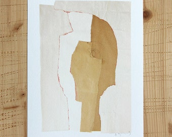 Sale Art Print, White & Beige Modern Collage Portrait Art, Recycled Paper Abstract Mixed Media, 8x10