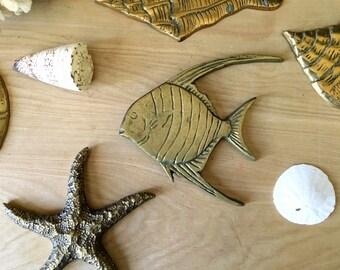 Mid Century Solid Brass Cardinal Fish