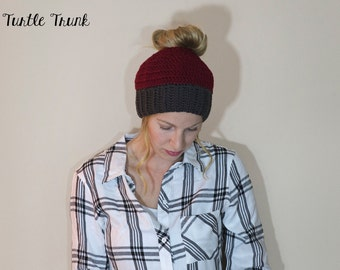 Woman's Messy Bun Beanie, Ponytail Hat, Bun Hat