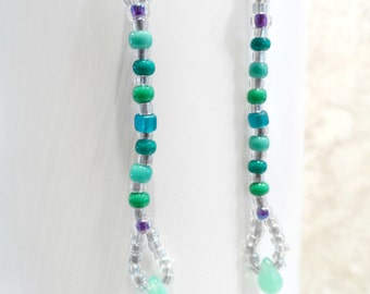 Dangle Pierced Earrings in greens and silver, drop beaded earrings, beaded jewelry, vintage look, gifts for her