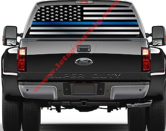 Thin Blue Line-rear Window Decal-graphic